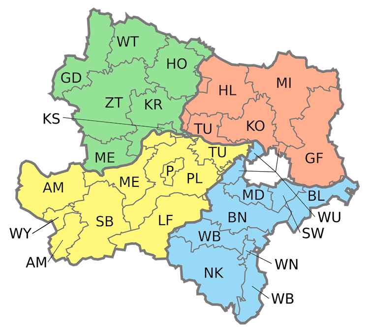 Map of Lower Austria, Quadrants (Viertel) and Regions (Bezirke)