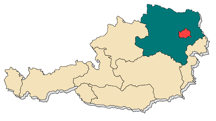 Map of the Provinces (Länder) of Austria