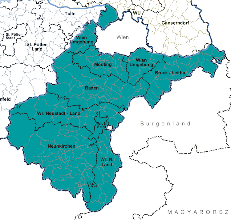 Detailed map of the  Industrieviertel.