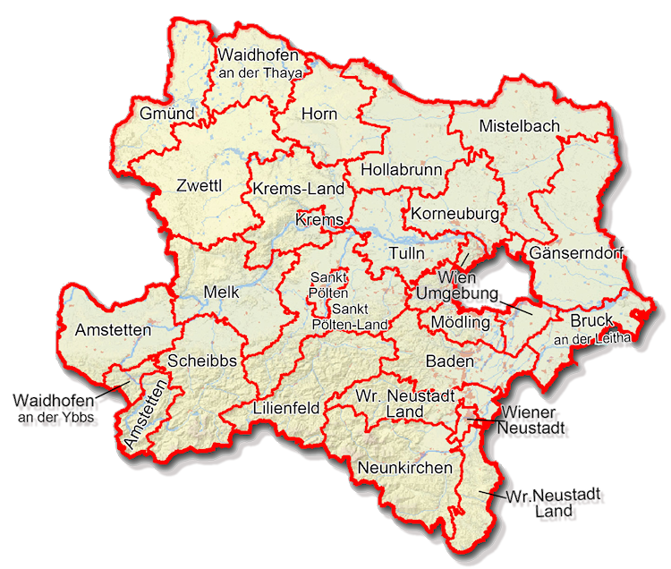 A map of the different regions of Lower Austria
