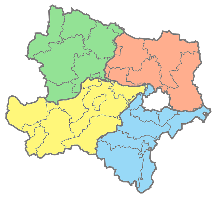 A map of the 4 quadrants of Lower Austria