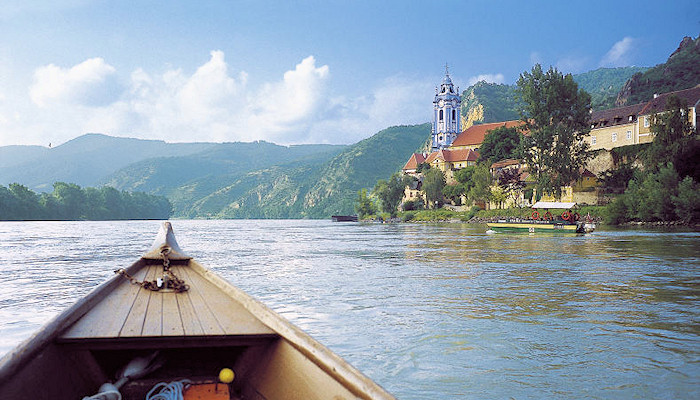 Approaching Dürnstein on the Danube by boat